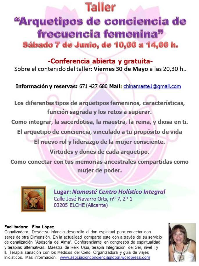 taller arquetipos de conciencia femenina, Centro namaste, Elche