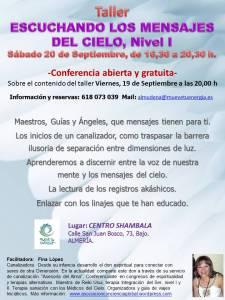Taller escuchando los mensajes del cielo nivel I, Almeria, septiembre 2014