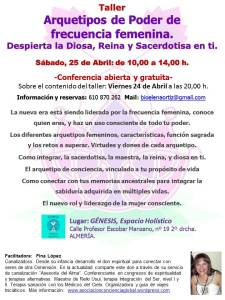 taller arquetipos de conciencia femenina, Centro Genesis, Almeria